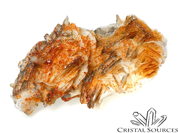 Vanadinite, cristaux bruts sur baryte